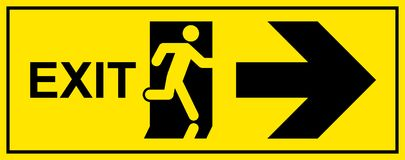 Emergency exit sign. Man running out fire exit.  Royalty Free Stock Images