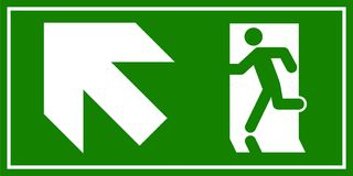 Emergency exit sign. Man running out fire exit.  Stock Photography