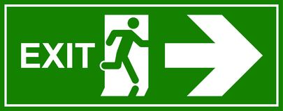 Emergency exit sign. Man running out fire exit.  Royalty Free Stock Photos