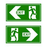 Emergency exit sign. Man running out fire exit.  Stock Photos