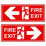 Emergency exit sign. Man running out fire exit.  Stock Images