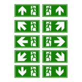 Emergency exit sign. Man running out fire exit.  Stock Photo