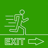 Emergency exit sign. Running man on a green background. vector. Outline, minimal Royalty Free Stock Photos