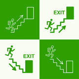 Emergency exit sign. Running man on a green background. vector. Outline, minimal Stock Images