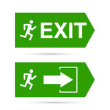 Emergency exit sign. Running man on a green background. vector. Outline, minimal Royalty Free Stock Photo