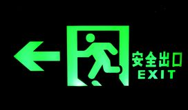 Emergency exit sign shine bright green light Stock Photography