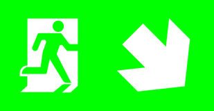 Emergency/exit sign without text on green background for standar. D emergency escape lighting right downward/ Thai standard sign for fire exit direction Stock Images