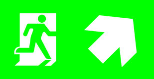 Emergency/exit sign without text on green background for standar. D emergency escape lighting/ Thai standard emergency exit sign right upwoard direction Stock Photo