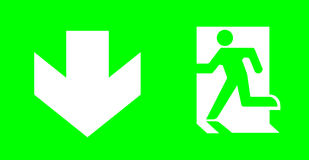 Emergency/exit sign without text on green background for standar. D emergency escape lighting/ Thai standard emergency exit sign go downward direction Stock Photos