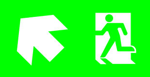 Emergency/exit sign without text on green background for standar. D emergency escape lighting/ Thai standard emergency exit sign left upward direction Royalty Free Stock Photo