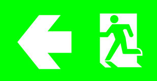 Emergency/exit sign without text on green background for standar. D emergency escape lighting/ Thai standard emergency exit sign left direction Royalty Free Stock Image
