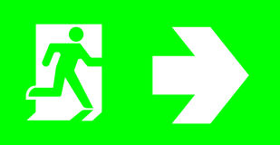 Emergency/exit sign without text on green background for standar. D emergency escape lighting/ Thai standard emergency exit sign turn right direction Royalty Free Stock Photography