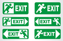 Emergency exit sign. Vector illustration. Set of signs royalty free illustration
