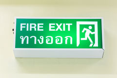 Emergency exit sign  on white background. - Selective Fo Royalty Free Stock Photography