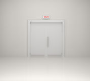 Emergency exit sign and white door. 3d illustration Royalty Free Stock Photography