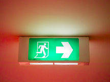 Emergency exit signal. Processed in red for the danger feeling Royalty Free Stock Image