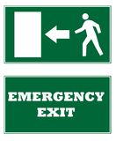 Emergency Exit signs. Two emergency exit signs, isolated on white background Royalty Free Stock Photos
