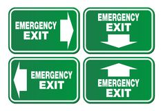 Emergency exit signs - green sign Royalty Free Stock Photo