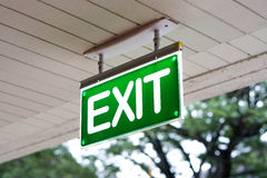 Emergency Exit Signs Green with white lettering. Stock Photos