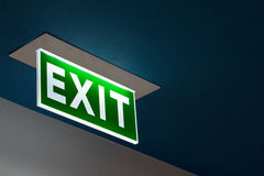 Emergency Exit Signs Green with white lettering. Royalty Free Stock Images
