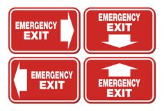 Emergency exit signs - red sign Stock Images