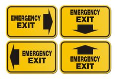 Emergency exit signs - yellow sign Royalty Free Stock Photography