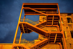 Emergency exterior stair case on side of  building Royalty Free Stock Photo