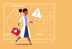 Emergency Female Doctor African American Run With Medicine Box First Aid Medical Clinics Worker Hospital. Flat Vector Illustration Royalty Free Stock Photography