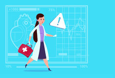 Emergency Female Doctor Run With Medicine Box First Aid Medical Clinics Worker Hospital. Flat Vector Illustration Royalty Free Stock Photo