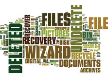 Emergency File Recovery With Undelete Wizard Text Background Word Cloud Concept Stock Photography