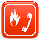 Emergency fire. Red emergency fire safety sign Royalty Free Stock Image