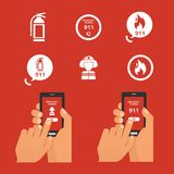 Emergency fire alert via telephone. Set of   Icon Stock Photography