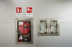 Emergency fire equipment station for firefighter and caution lab. El in Nonthaburi Province, Thailand Stock Photos