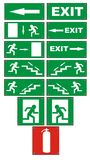 Emergency fire escape signs Stock Photos