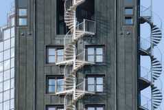 Emergency fire escape staircases on a building exterior Stock Image