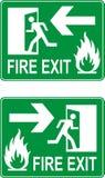Emergency fire exit door. Green sign. Vector Stock Photo