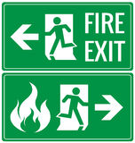 Emergency fire exit door signs.  Stock Images