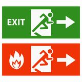 Emergency fire exit door. Vector sign icon Royalty Free Stock Images