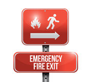 Emergency fire exit red road sign illustration Royalty Free Stock Photography