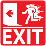 Emergency Fire Exit Set 1. Emergency fire exit sign on a red background Royalty Free Stock Photo