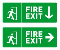 Emergency Fire Exit Sign Designs - Safety Signs and Symbols. Two Emergency Fire Exit Sign Designs - Printable Safety Sign Templates with Arrows. Icon of a man vector illustration