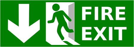 Emergency fire exit sign show the way to escape.  vector illustration