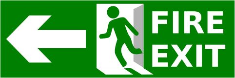 Emergency fire exit sign show the way to escape.  stock illustration