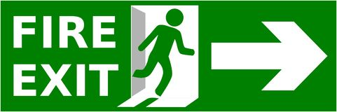 Emergency fire exit sign show the way to escape.  royalty free illustration