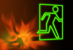 Emergency or fire exit symbol and flames Royalty Free Stock Photos