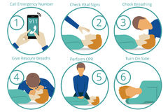 Emergency first aid cpr procedure. Health and medical, life and emergency,  reanimation and rescue. Vector illustration Stock Photos