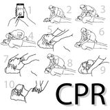 Emergency first aid cpr procedure vector illustration sketch han Royalty Free Stock Images