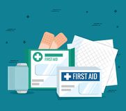 Emergency first aid icons. Vector illustration design Stock Image