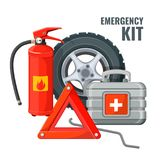 Emergency first aid kit and necessary auto service equipment vector. Emergency first aid kit in car and necessary auto service equipment vector. Fire Stock Photos