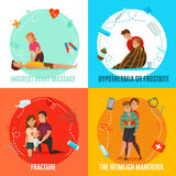 Emergency First Aid People Concept. Four square icon set with emergency first aid people concept and with indirect heart massage fracture hypothermia and the Royalty Free Stock Photos